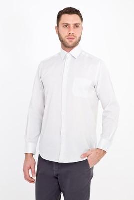 Erkek Giyim - KREM M Beden Uzun Kol Çizgili Klasik Gömlek