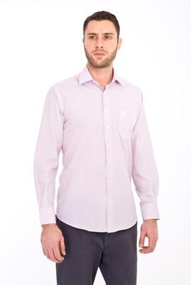 Erkek Giyim - KOYU KIRMIZI L Beden Uzun Kol Desenli Klasik Gömlek