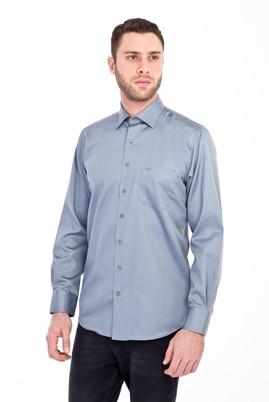 Erkek Giyim - AÇIK GRİ XXL Beden Uzun Kol Klasik Saten Gömlek