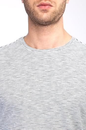 Erkek Giyim - Bisiklet Yaka Çizgili Sweatshirt