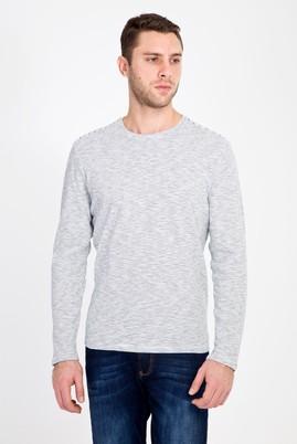 Erkek Giyim - Beyaz L Beden Bisiklet Yaka Çizgili Sweatshirt