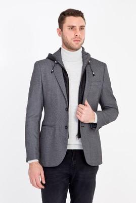 Erkek Giyim - AÇIK GRİ 46 Beden Slim Fit Kapüşonlu Kuşgözü Spor Ceket