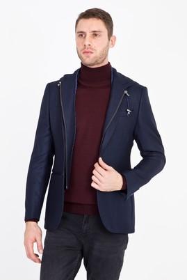 Erkek Giyim - LACİVERT 48 Beden Slim Fit Kapüşonlu Kuşgözü Spor Ceket