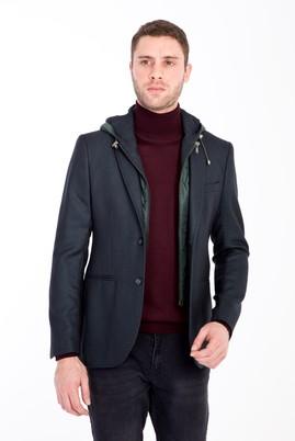 Erkek Giyim - KOYU YESİL 44 Beden Slim Fit Kapüşonlu Kuşgözü Spor Ceket
