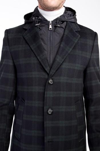 Erkek Giyim - Slim Fit Kapüşonlu Yünlü Ekose Kaban