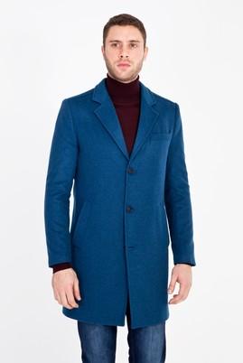 Erkek Giyim - PETROL 54 Beden Slim Fit Yünlü Kaban