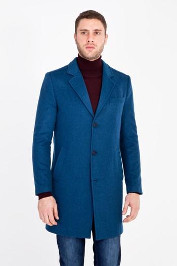 Erkek Giyim - Slim Fit Yünlü Kaban