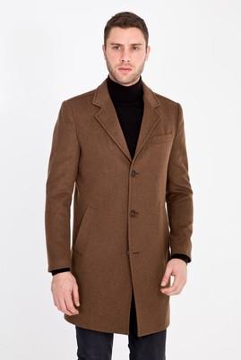 Erkek Giyim - VİZON 50 Beden Slim Fit Yünlü Kaban