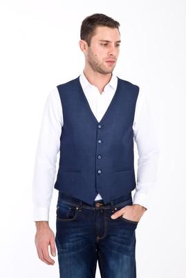 Erkek Giyim - LACİVERT 58 Beden Kuşgözü Klasik Yelek