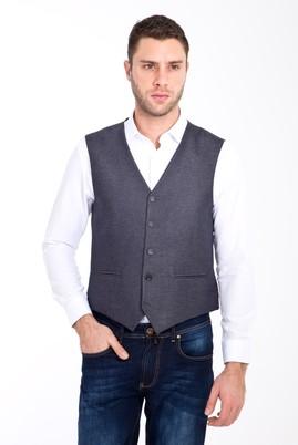 Erkek Giyim - ANTRASİT 50 Beden Kuşgözü Klasik Yelek