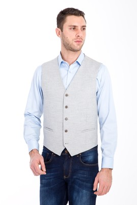 Erkek Giyim - AÇIK GRİ 58 Beden Klasik Yünlü Yelek