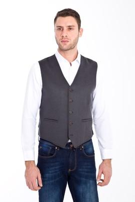 Erkek Giyim - FÜME GRİ 56 Beden Klasik Yünlü Yelek