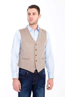 Erkek Giyim - VİZON 50 Beden Klasik Yünlü Yelek