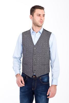 Erkek Giyim - Orta füme 52 Beden Yünlü Klasik Yelek