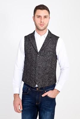 Erkek Giyim - SİYAH 50 Beden Klasik Yünlü Yelek