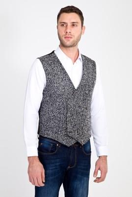 Erkek Giyim - ORTA FÜME 54 Beden Yünlü Klasik Yelek
