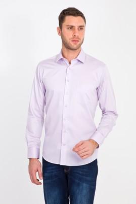 Erkek Giyim - LİLA 3X Beden Uzun Kol Non Iron Saten Klasik Gömlek