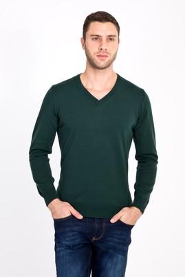 Erkek Giyim - ACIK YESIL 3X Beden V Yaka Regular Fit Triko Kazak
