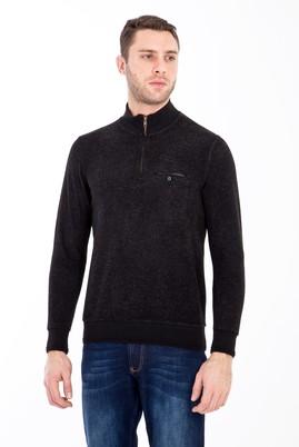 Erkek Giyim - SİYAH XXL Beden Bato Yaka Fermuarlı Sweatshirt