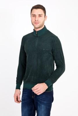 Erkek Giyim - KOYU YESİL 3X Beden Bato Yaka Fermuarlı Sweatshirt