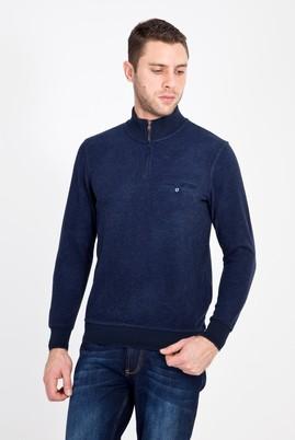Erkek Giyim - LACİVERT L Beden Bato Yaka Fermuarlı Sweatshirt