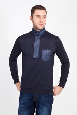Erkek Giyim - ORTA LACİVERT L Beden Bato Yaka Fermuarlı Sweatshirt