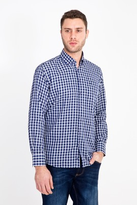 Erkek Giyim - LACİVERT L Beden Uzun Kol Ekose Klasik Gömlek