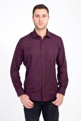 Erkek Giyim - BORDO 3X Beden Uzun Kol Oduncu Gömlek
