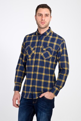 Erkek Giyim - LACİVERT XL Beden Uzun Kol Regular Fit Ekose Oduncu Gömlek