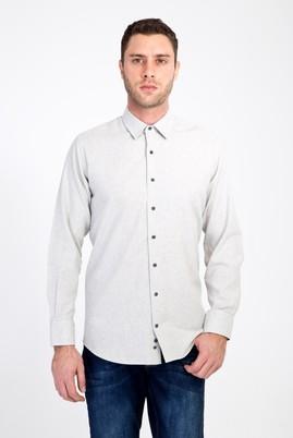 Erkek Giyim - AÇIK GRİ 4X Beden Uzun Kol Kuşgözü Oduncu Gömlek