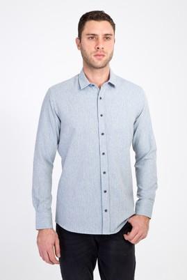 Erkek Giyim - AÇIK GRİ L Beden Uzun Kol Slim Fit Çizgili Oduncu Gömlek