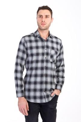 Erkek Giyim - AÇIK GRİ XXL Beden Uzun Kol Regular Fit Ekose Oduncu Gömlek