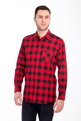 Erkek Giyim - KIRMIZI XL Beden Uzun Kol Ekose Oduncu Gömlek