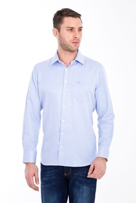 Erkek Giyim - MAVİ M Beden Uzun Kol Çizgili Klasik Gömlek