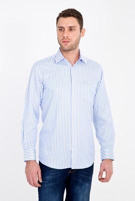 Erkek Giyim - AÇIK MAVİ L Beden Uzun Kol Çizgili Klasik Gömlek