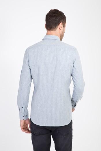 Erkek Giyim - Uzun Kol Slim Fit Çizgili Oduncu Gömlek