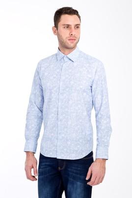 Erkek Giyim - MAVİ S Beden Uzun Kol Slim Fit Baskılı Gömlek