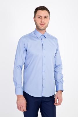 Erkek Giyim - MAVİ XS Beden Uzun Kol Non Iron Slim Fit Saten Gömlek