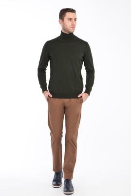 Erkek Giyim - KAHVE 52 Beden Slim Fit Spor Saten Pantolon