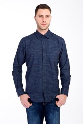 Erkek Giyim - LACİVERT L Beden Uzun Kol Regular Fit Oduncu Gömlek