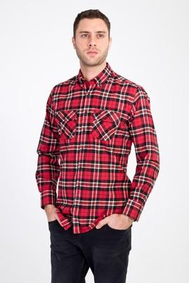 Erkek Giyim - KIRMIZI M Beden Uzun Kol Ekose Oduncu Gömlek