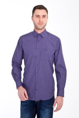 Erkek Giyim - BORDO L Beden Uzun Kol Ekose Klasik Gömlek