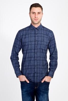 Erkek Giyim - MAVİ L Beden Uzun Kol Ekose Oduncu Gömlek