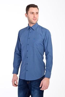 Erkek Giyim - KOYU YESİL XL Beden Uzun Kol Ekose Klasik Gömlek
