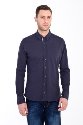 Erkek Giyim - LACİVERT L Beden Uzun Kol Slim Fit Örme Gömlek