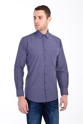 Erkek Giyim - KAHVE XL Beden Uzun Kol Ekose Klasik Gömlek