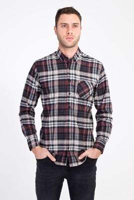 Erkek Giyim - LACİVERT L Beden Uzun Kol Ekose Oduncu Gömlek