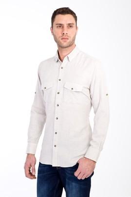 Erkek Giyim - BEJ XXL Beden Uzun Kol Oduncu Gömlek
