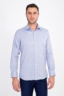 Erkek Giyim - LACİVERT L Beden Uzun Kol Slim Fit Desenli Gömlek
