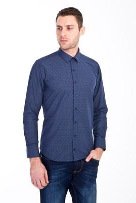 Erkek Giyim - LACİVERT L Beden Uzun Kol Slim Fit Baskılı Gömlek